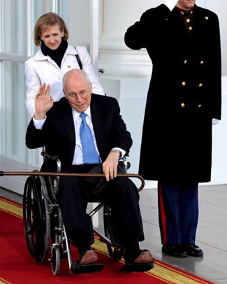Dick Cheney was injured shortly before the Obama inauguration because he was personally moving boxes out of his office. But what boxes would he personally be moving, that he could not trust to, say, a high-security moving company? Photo by Mike Theiler.