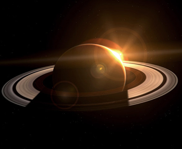 Artist's rendering of a Sun-Saturn alignment, seen from the night side of Saturn. This is a beautiful image, though the Sun is probably shown a lot larger than it would be from this distance -- about 900 million miles.