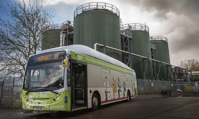 The Bio-Bus is powered by biomethane gas generated from human poo and food waste. Photo by Wessex Water/PA