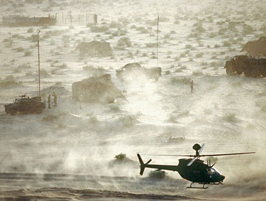 The perpetual jungle war became the perpetual desert war. This is Operation Desert Shield, an action against Iraq, 1990. In all we have been bombing Iraq since 1981. Dept. of Defense photo.