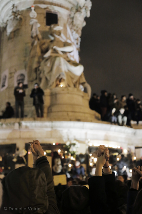Protests tonight in Paris, Place de la Republique. Photo by Danielle Voirin for Planet Waves.