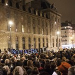 Protest at Place de la Republique, Paris, earlier this evening. Photo by Danielle Voirin.