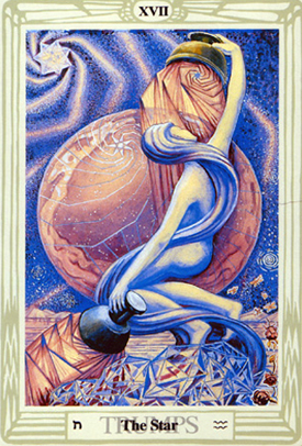 The Star -- the tarot card representing Aquarius. This version was painted by Lady Frieda Harris, with some help from Aleister Crowley.
