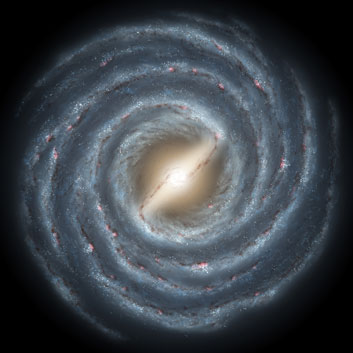 You are here! The Milky Way, our home, is a barred spiral galaxy.