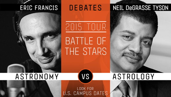 Official promotional poster for the Eric Francis-Neil Tyson debate series.