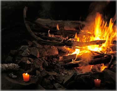 Ceremonial fire in the Chironian, the healing cave in Rosendale, NY. Photo by Eric.