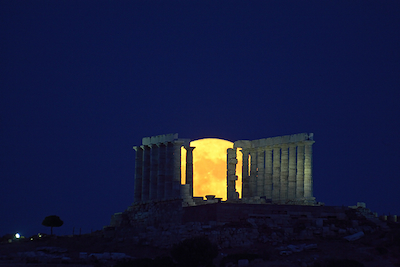Full Moon Rising at Sounion, Greece, June 2010. Photo by Anthony Ayiomamitis.