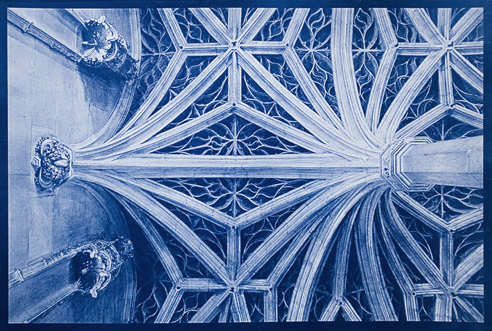 The ceiling of the Notre Dame de Paris is a merveille.  This is a cyanotype print of the ceiling in the ambulatory part of the cathedral, behind the apse, and is part of a larger series in the works, to photograph all the ceilings of Paris's churches and cathedrals.