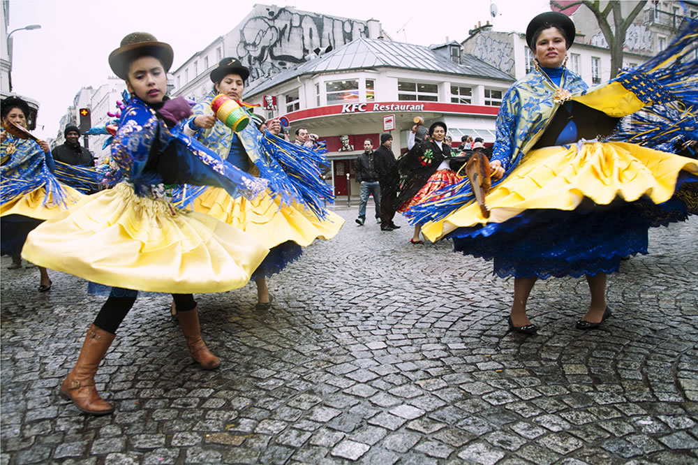 Bolivian folk dancers in the Carnival parade in Belleville, Paris.