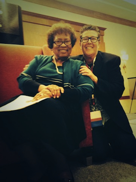 Dr. Joycelyn Elders with Good Vibrations Executive Vice President, Jackie Rednour-Bruckman, at Catalyst Con West 2013, where she applauded and endorsed International Masturbation Month efforts. Photo courtesy of Good Vibrations.