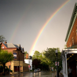 Double rainbow over uptown Kingston, NY.