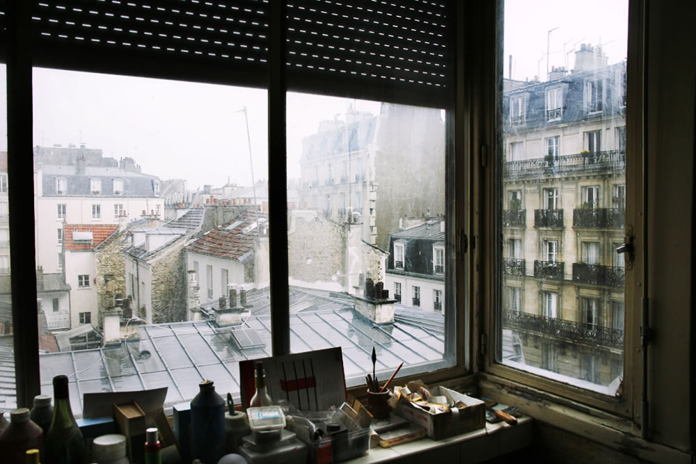 """The view from artist Matthew Rose's studio in the 14th district in Paris.  Whenever I fly back into Paris through Orly airport, if he's around I stop to play guitar and have a chat about art and politics, and eat whatever """"glop"""" he has brewing on his stovetop."""