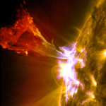 Solar prominence (mid-level flare) photographed in May of 2013. We are experiencing similar flares now.