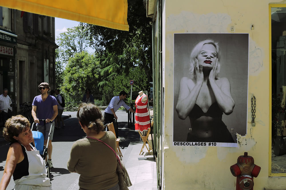 During the international photo festival, Les Rencontres de la Photographie, in Arles, France every summer, many photographers use the city walls as exhibition space, myself included.  Planning is now under way for this summer's high jinks.
