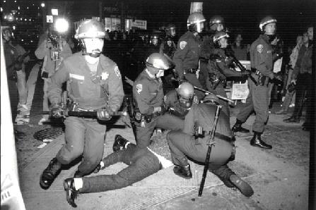 Scene from the Stonewall riots of summer 1969, Greenwich Village, Manhattan.