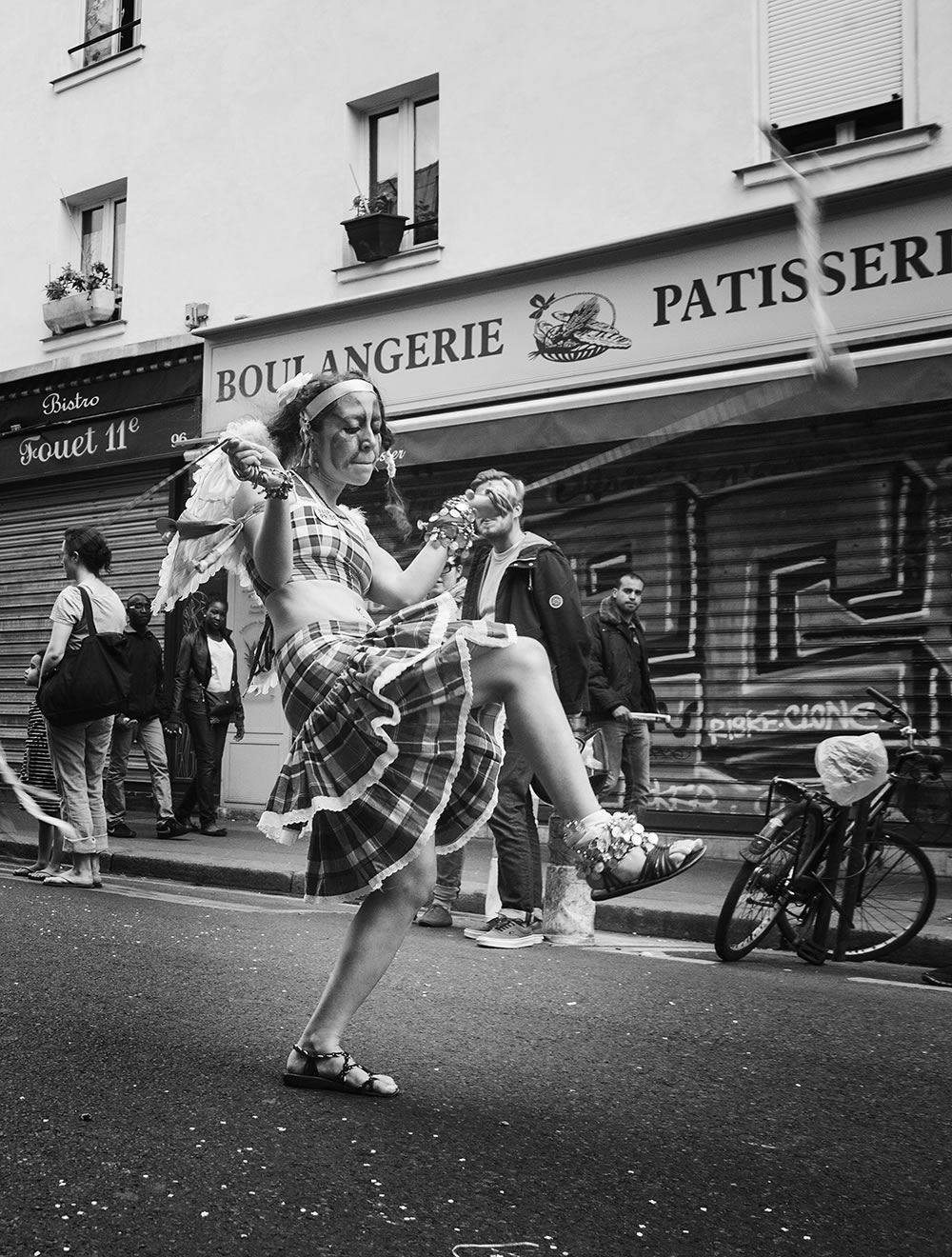 From the day the carnival danced down my street.  Rue Oberkampf, Paris.