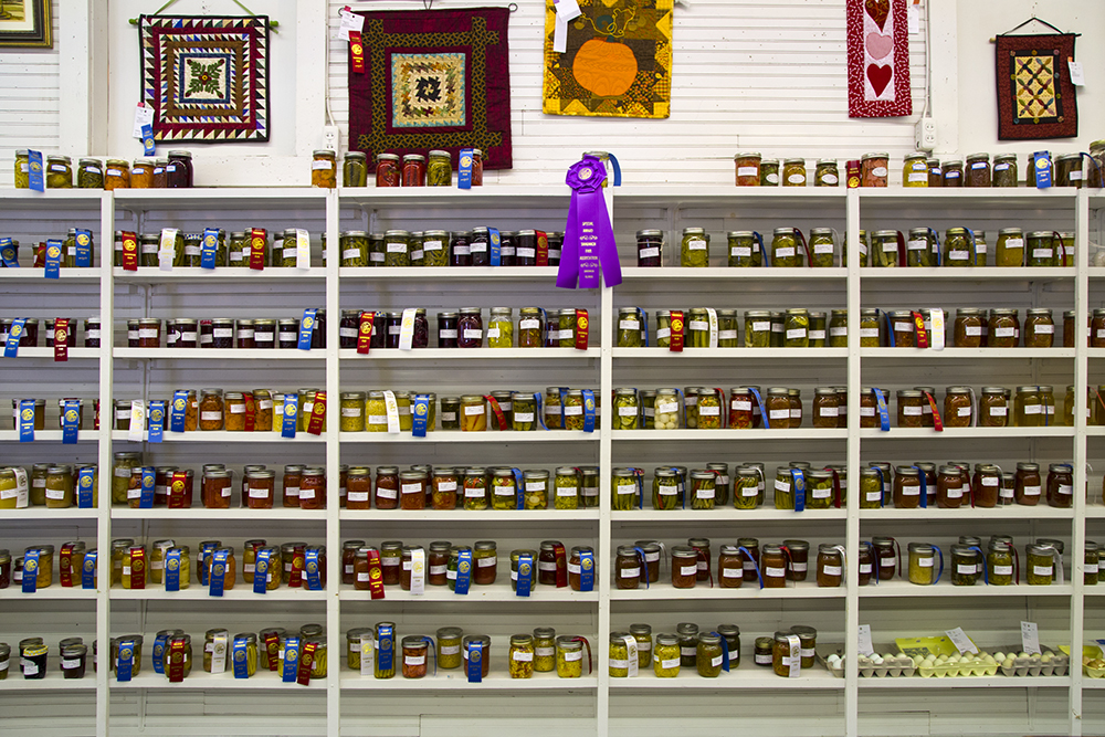 Prize winners in the jams and fermented vegetables categories at the annual county fair in Sandwich, Illinois.