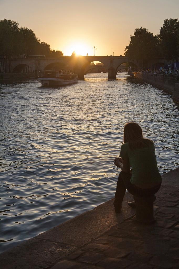 Sunset over the Seine, Paris.