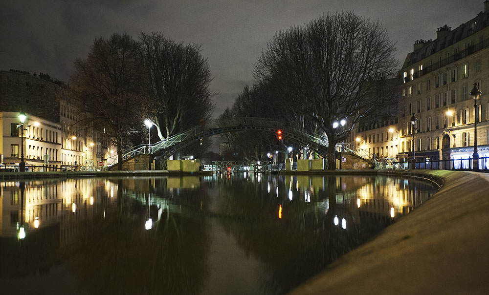 Calm waters on the Canal St. Martin, Paris.