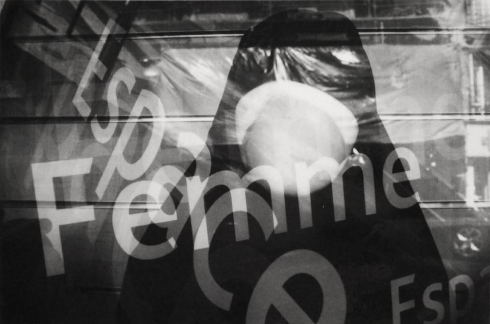 Espace Femme / Women's Space.  Multiple exposure taken in the Couronnes neighborhood in Paris, part of Belleville.