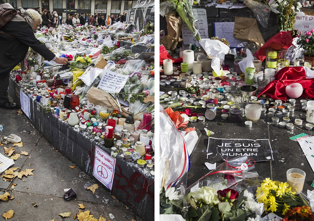 Paris's Place de la République today.  The first person I met was a young man, about 24 years old, who lost his girlfriend and two friends at the Bataclan attack.  Then, this morning he was on the suburban RER train going through St. Denis when the shooting was happening.  He stayed calm while others reacted in panic and tears.  He told me he's not afraid to die, but wants to have a peaceful mind when it happens.  He came to Place de la Republique to be around, and comfort, others.