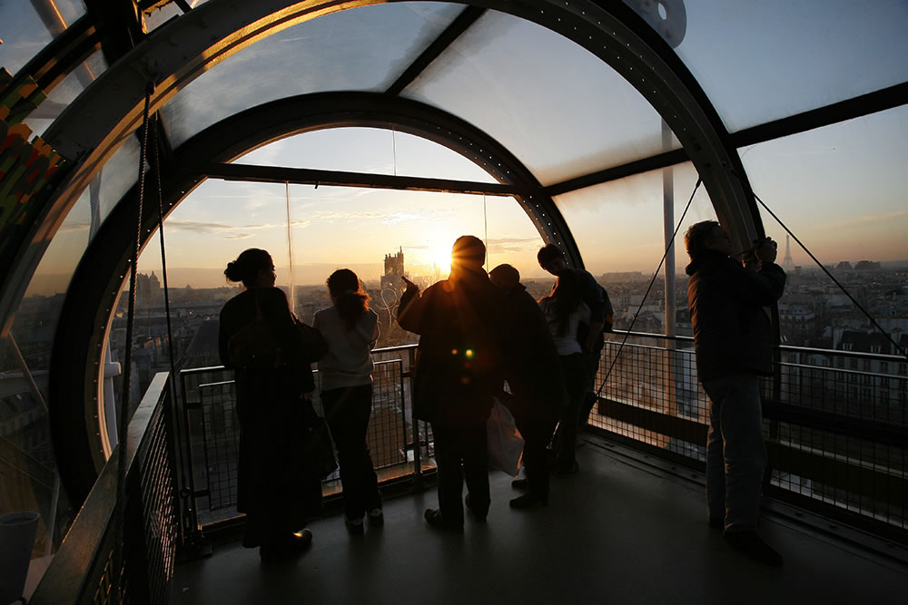 Watching the sun set from the top floor of Centre Georges Pompidou, Paris.