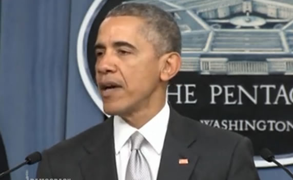 "Obama: ""We Are Hitting ISIL Harder Than Ever"". Image: video still."
