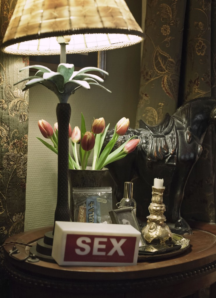 A side table at a party chez John.