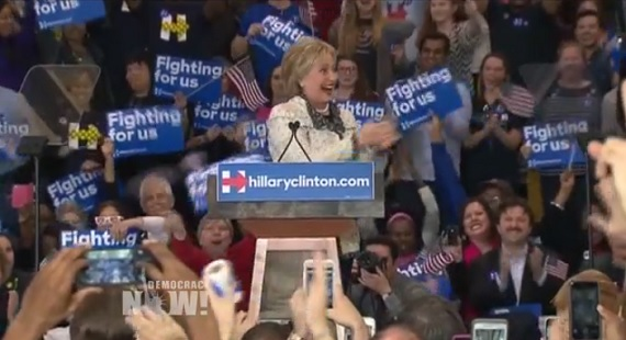 Hillary Clinton won a big victory in South Carolina. Image: video still