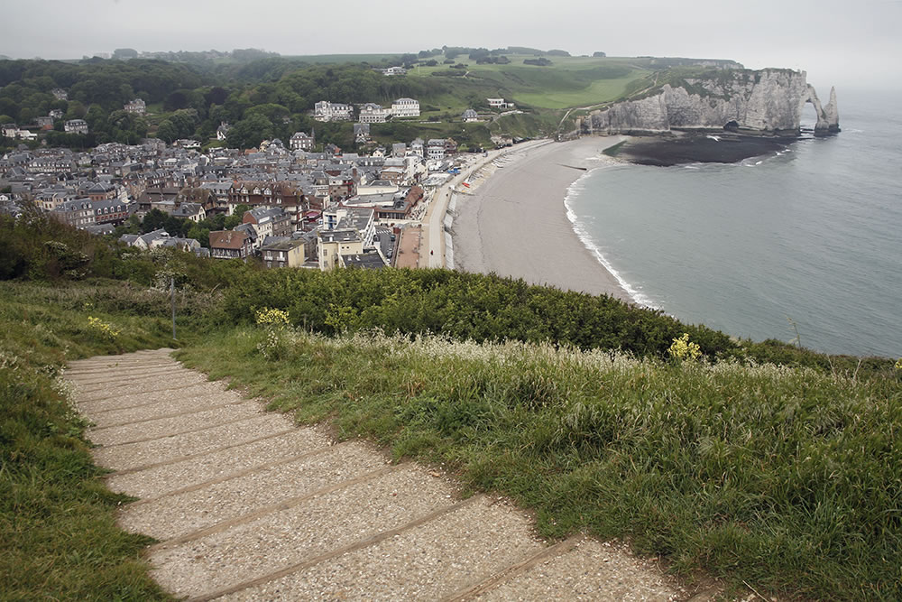 The path down to the beach at Etretat, the town with the famous cliffs along France's Normandy coast.