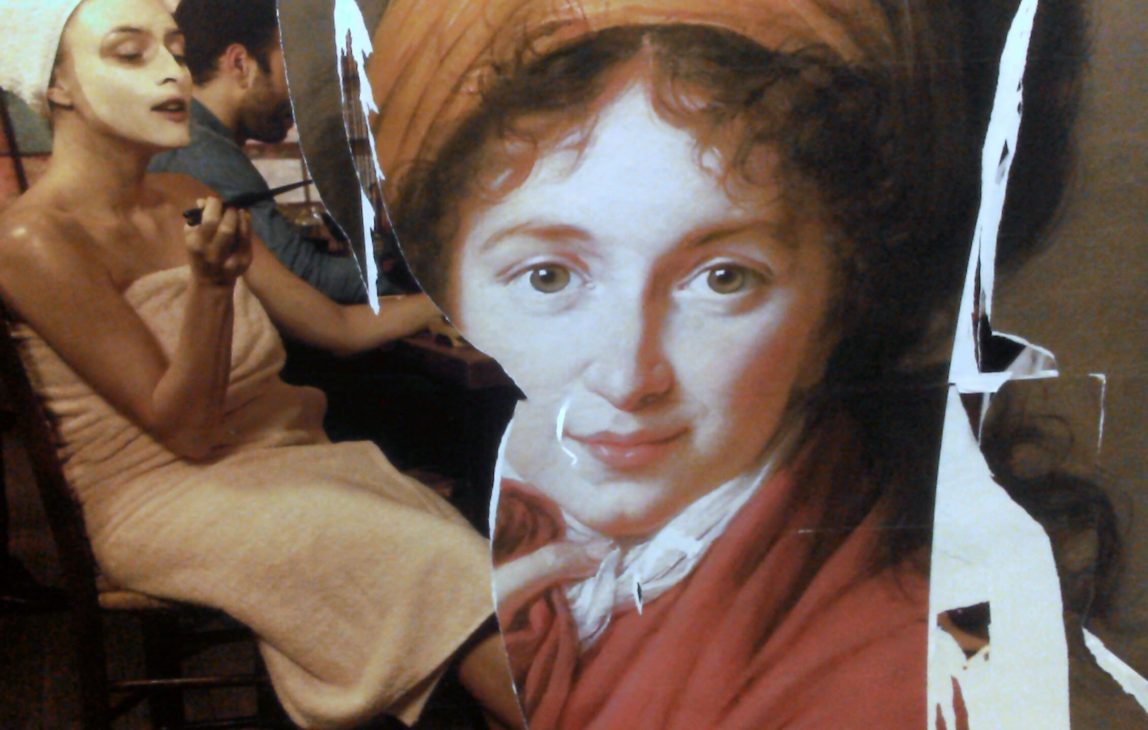Two ads in a Paris metro. The work of Marie Antoinette's portraitiste, Louise Elisabeth Vigee Le Brun, with an ad for having dinner delivered to the intimate comforts of your home.