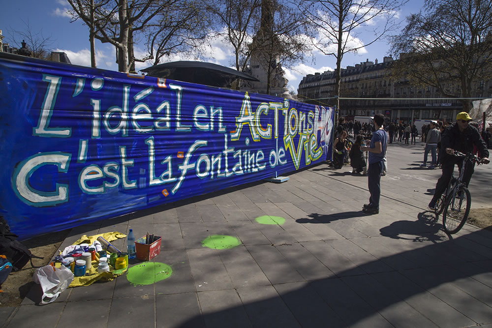 """The ideal in action is the fountain of life,"" which is the French way of saying fountain of youth. In Paris's Place de la République with the Nuit Debout movement."