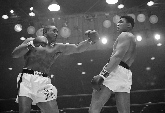 "It was feared Clay would be seriously injured by the slugger Sonny Liston, a 7-1 betting favorite to retain his title in Miami Beach, but Clay mocked Liston as the ""big ugly bear"" and chanted a battle cry: ""Float like a butterfly, sting like a bee, rumble, young man, rumble."" Credit: Associated Press"