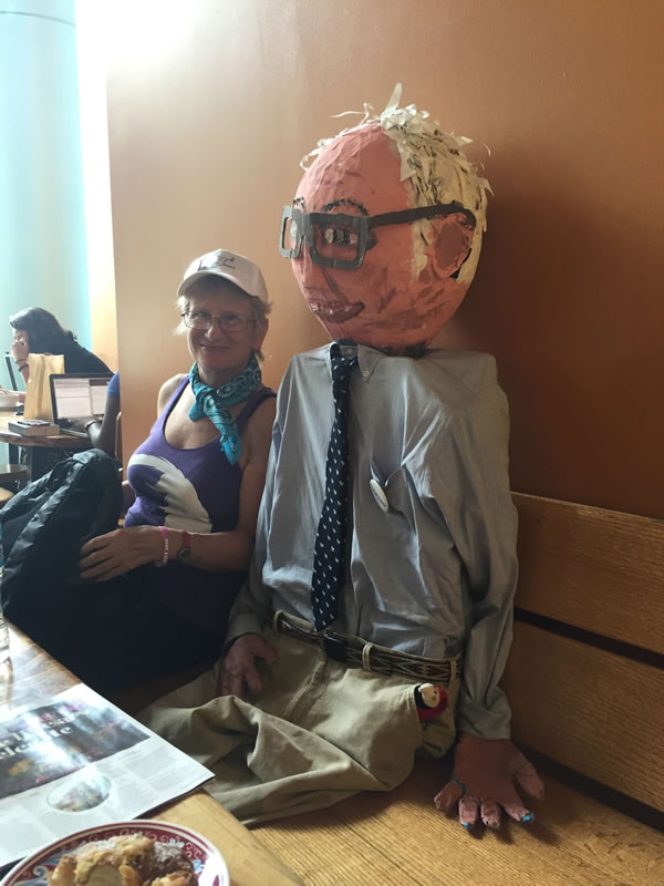 I got a chance to sit next to Bernie Sanders at a coffeeshop in Philadelphia!  This friendly doll was just one of hundreds of very creative visuals at the protests outside City Hall. Photo by: Amy Jacobs.