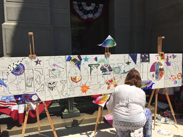A public work of art outside of City Hall in Philadelphia - everyone was invited to contribute. Photo by  Amy Jacobs.
