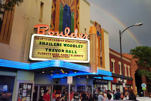A double rainbow over the Boulder Theater Tuesday night. Photo by Ethan Au Green.
