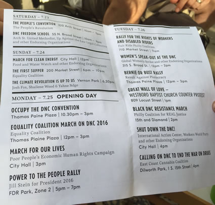 A flyer circulated at the DNC by a group called Philly.FYI, which made a valiant attempt to keep straight the long list of protests and marches scheduled over the week. Photo credit: Unknow.