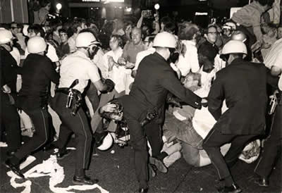 Police and protesters clashed violently during the 1968 DNC in Chicago.