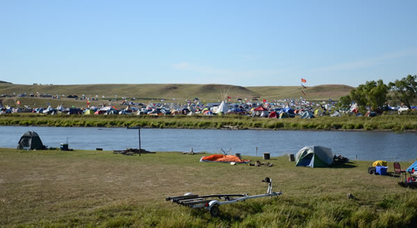 A view of Red Warrior Camp from across the stream. It's tough to really do the size of the camp justice. Photo by Sven Jorgensen.