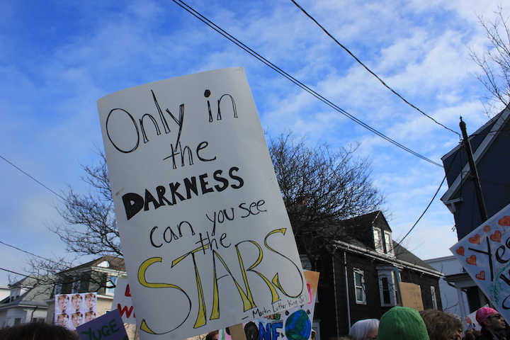 In Portland, Maine, we had an estimated 10,000 marchers (another 10,000 marched in the state's capitol), stretching almost an entire mile down Congress Street. Energy and friendly vibes were high; signs were mostly positive and inclusive with some 'anti-Trump' thrown in. The crowd was diverse (for Maine), with many pro-women men joining the pussy-hat-clad. Hopefully I'll be adding more images to this post later in the day. Photo by Amanda Painter.