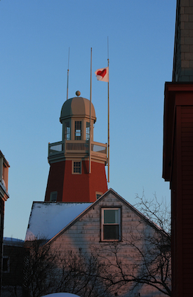Evidence of the Valentine's Day Bandit flies atop the Portland Observatory, Portland, Maine. Photo by Amanda Painter.