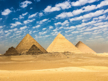 The three major pyramids in Giza, Egypt. From left to right, the Pyramid of Menkaure, the Pyramid of Khafre, and the Pyramid of Khufu (also known as The Great Pyramid). Photo by Mark Fischer / Flickr under Creative Commons.