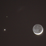 Photo of Venus conjunct Mars and the crescent Moon from February 2015 by Amanda Painter.