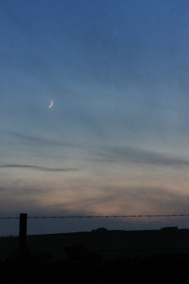 Crescent Moon two days after last month's Taurus New Moon, viewed from the Kristin Linklater Voice Center in Orkney, Scotland. Photo by Amanda Painter.