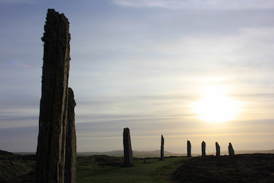 The Ring of Brodgar, Neolithic standing stones thought to have been erected between 2500 BC and 2000 BC, in Orkney, Scotland. Photo by Amanda Painter.