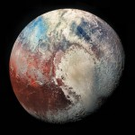 "Pluto in Colorized Infrared from ""The Rich Color Variations of Pluto"" (PIA19952); photo by NASA / Johns Hopkins University APL / Southwest Research Institute / ZLDoyle"